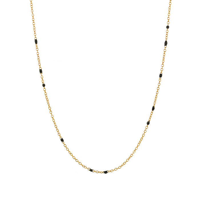 Dainty Black Onyx Chain Necklace
