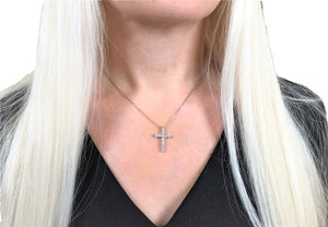 Dainty Crystal Cross Pendant Necklace - Hollywood Sensation