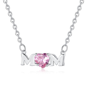 Mom Necklace with Pink Cubic Zirconia - Hollywood Sensation