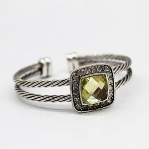 Twisted Cable Cuff Bangle Silver Bracelet With Yellow Austrian Crystal - Hollywood Sensation