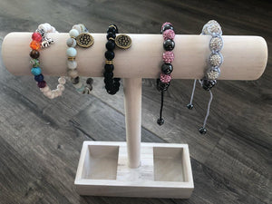 Yoga Bracelets Black Beaded with Spiritual Charms - Hollywood Sensation