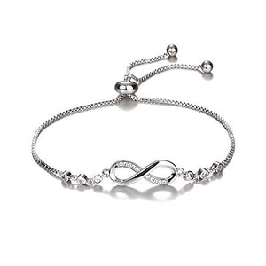 Infinity Bracelet with Cubic Zirconia and Adjustable