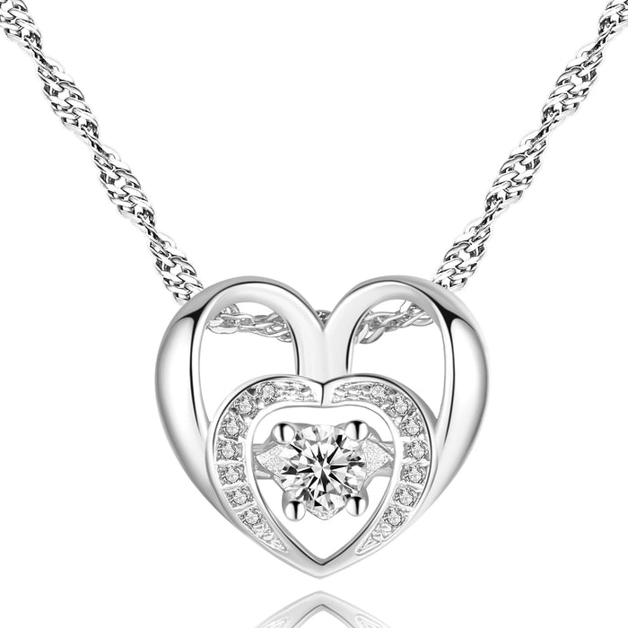 Double Heart Necklace  Gold Plated with Cubic Zirconia Stone