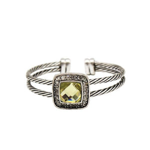 Retro Silver Crystal Cuff-Classic Twisted Cable Cuff--Rapcity Bangle - Hollywood Sensation