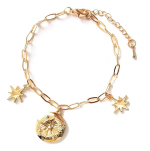 Compass Coin and Stars Charm Link Bracelet