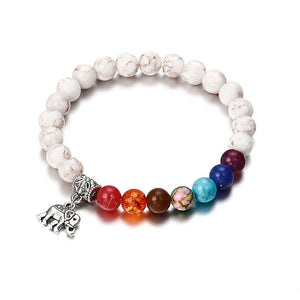 7 Chakra Bracelet with Elephant Charm - Hollywood Sensation