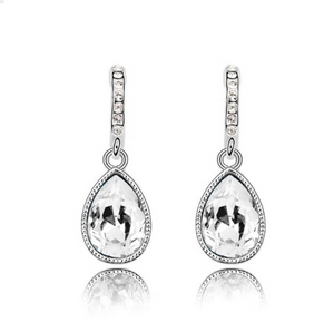 Silver Finished Crystal Drop Earrings - Hollywood Sensation