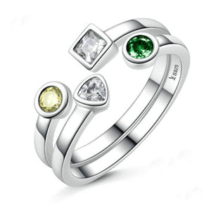 Stackable Rings  White Gold Plated Gem Stone - Hollywood Sensation