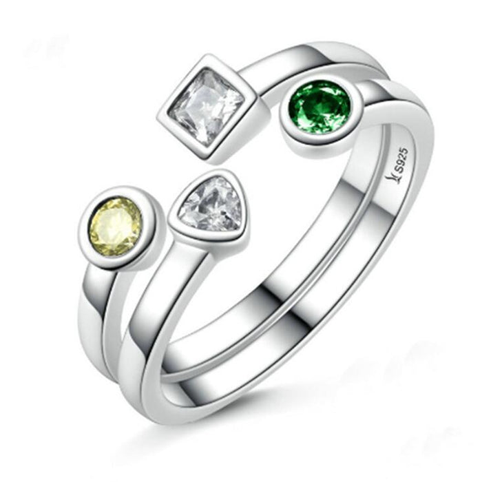 Stackable Rings  White Gold Plated Gem Stone