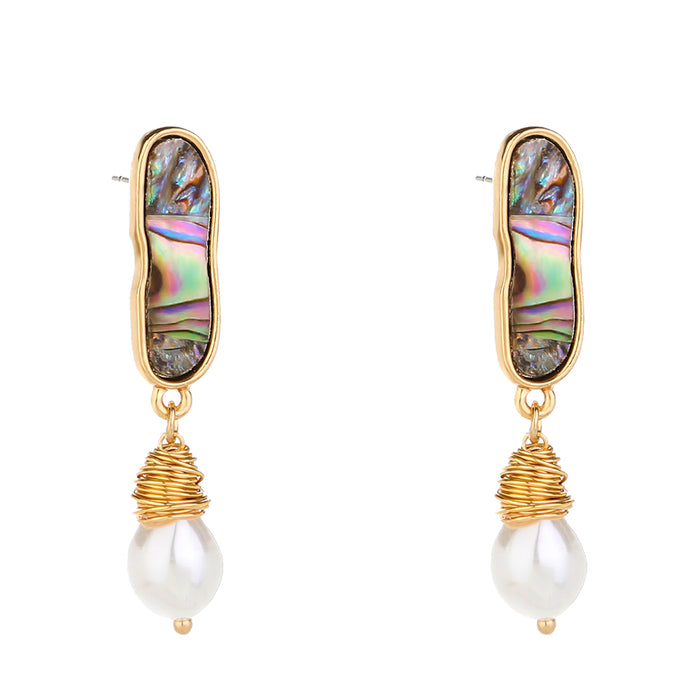 Abalone Dangle Earrings With Pearl