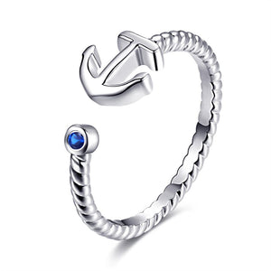 Adjustable Anchor Ring White Gold - Hollywood Sensation