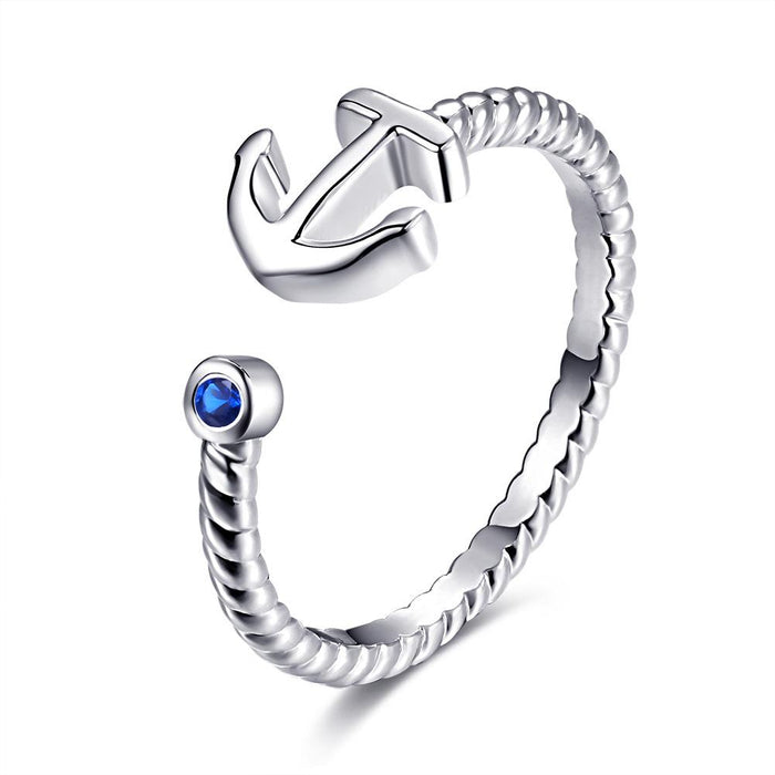 Anchor Ring Adjustable  White Gold Plated