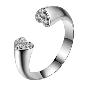 Adjustable Crystal Heart Ring Silver Plated - Hollywood Sensation
