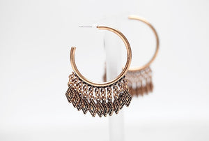 Antique Gold Boho Chandelier Hoop Earrings