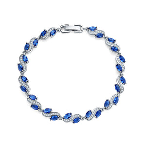 Tennis Bracelet with Marquise Sapphire and White Diamond Cubic Zirconia