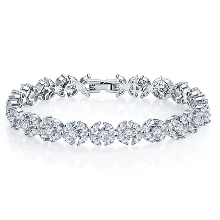 Round and Marquise Cut Tennis Bracelet with White Diamond Cubic Zirconia
