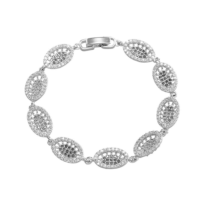Oval Link Bracelet with White Diamond Cubic Zirconia