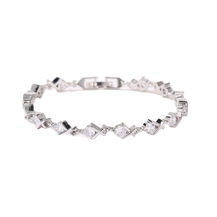 XO Tennis Bracelet with Round Cut White Diamond Cubic Zirconia Stones