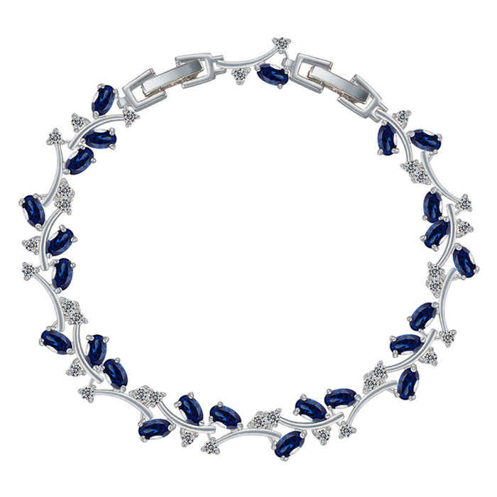 Sapphire and White Diamond Leaf Tennis Bracelet with Cubic Zirconia Stones