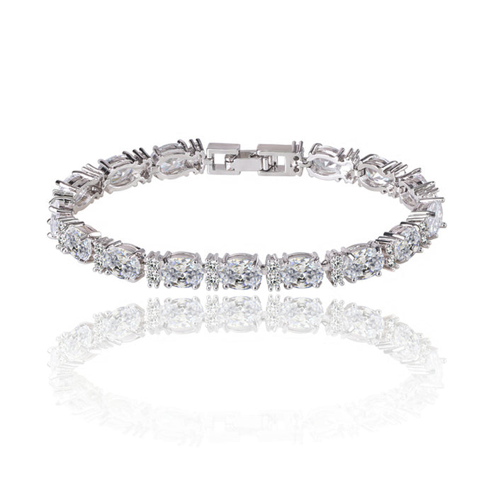 Tennis Bracelet with Oval and Round Cut White Diamond Cubic Zirconia