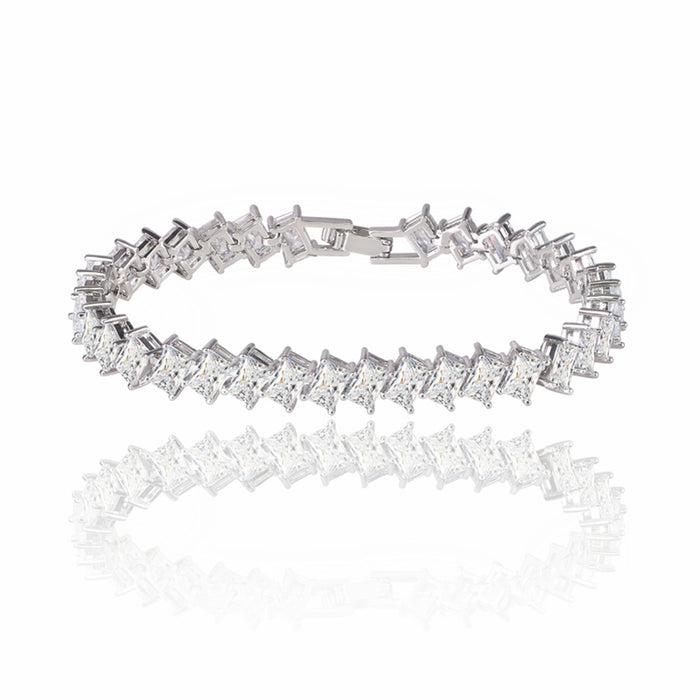 Princess Cut Tennis Bracelet with White Diamond Cubic Zirconia