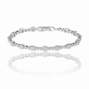 Square Tennis Bracelet with White Diamond Cubic Zirconia
