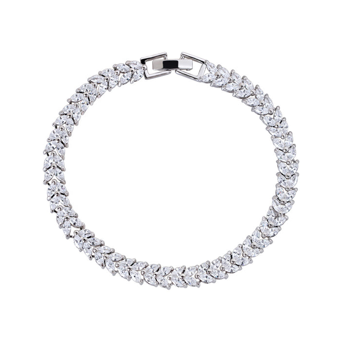 Marquise and Pear Cut Tennis Bracelet with White Diamond Cubic Zirconia