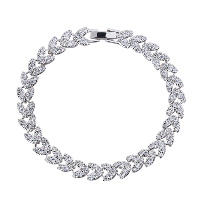 Heart Tennis Bracelet with White Diamond Cubic Zirconia