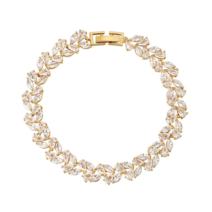 Gold Leaf Tennis Bracelet with Marquise and Pear Cut with White Diamond Cubic Zirconia