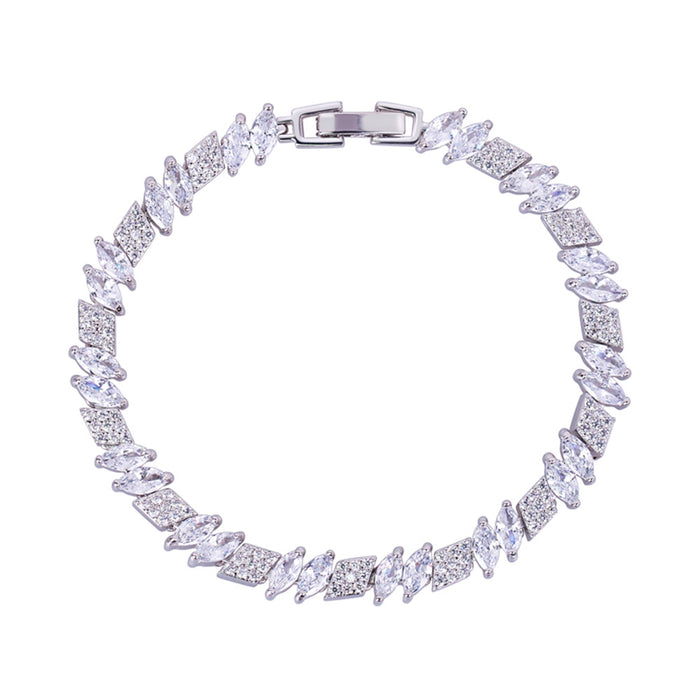 Marquise and Rhomboid Tennis Bracelet with White Diamond Cubic Zirconia
