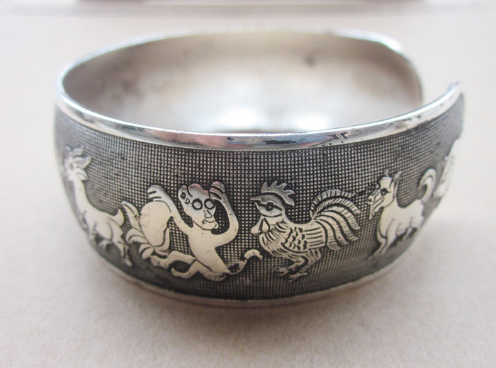 Zodiac Animals Retro Silver Plated Bracelet