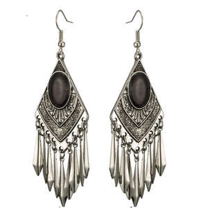 Boho Black Cat's Eye Stone Dangle Earrings - Hollywood Sensation