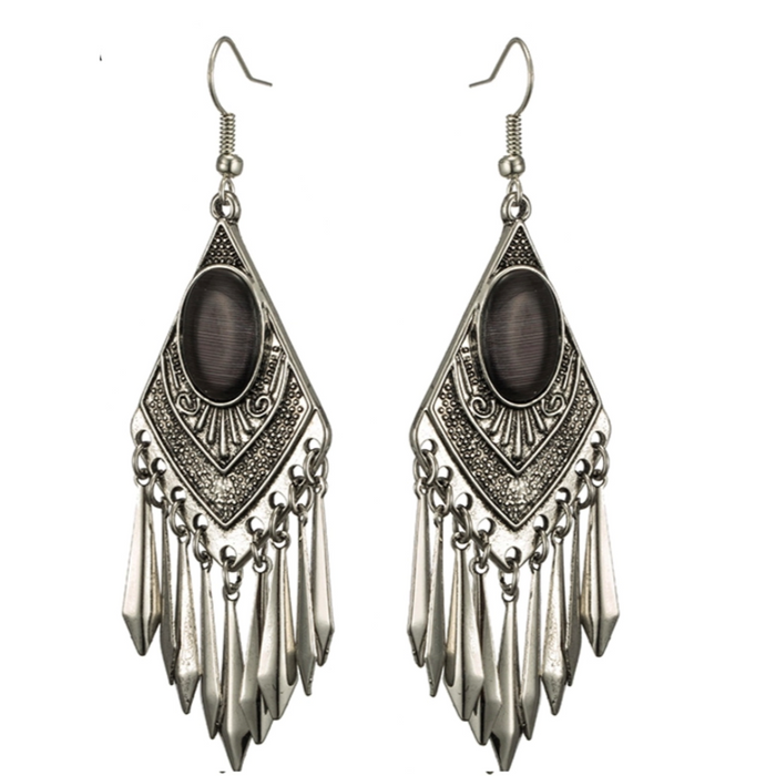 Black Cat's Eye Stone Boho  Dangle Earrings