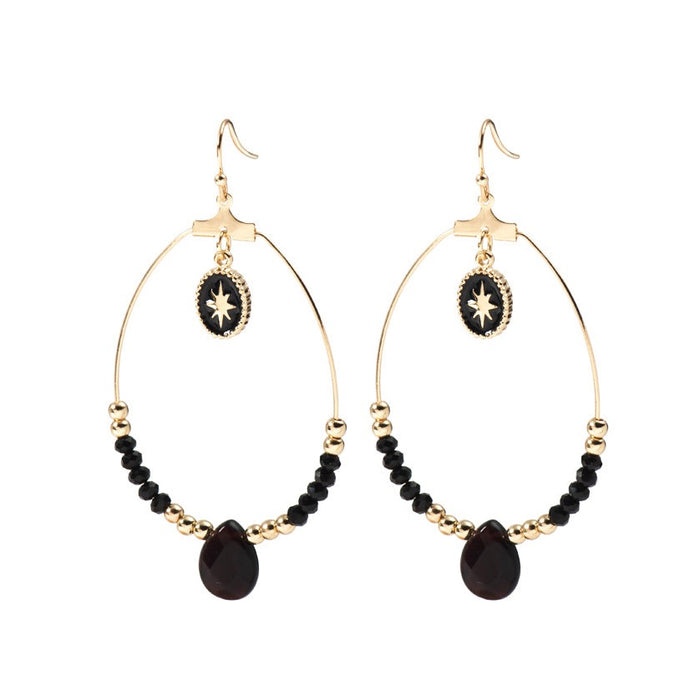 Beaded Hoop Earrings Black and Gold Beaded Dangle Hoop Earring