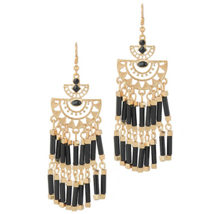 Boho Gold Black or White Tassel Earrings