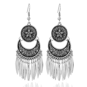 Boho Chandelier Earrings in Tibetan Silver - Hollywood Sensation