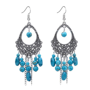 Turquoise Chandelier Silver Tassel Earrings - Hollywood Sensation