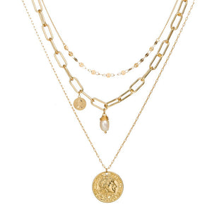 Boho Three Layered Necklace with Gypsy Coin - Hollywood Sensation