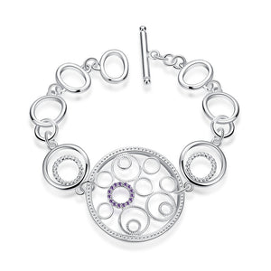 Julia 925 Sterling Silver Plated Chain Bracelet-Bracelets for Women - Hollywood Sensation