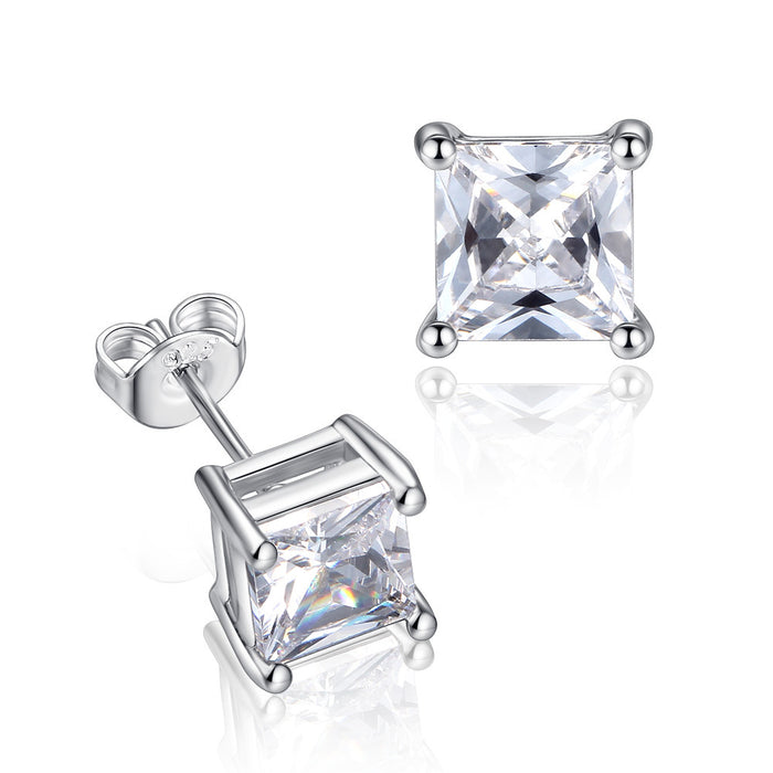 Half Carat Princess Cut Stud Earrings-Hollywood Sensation-Princess Cut Crystal Stud Earrings