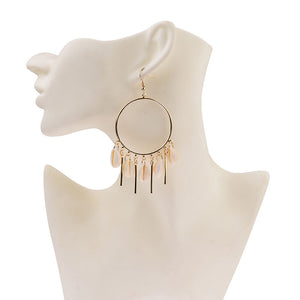 Chandelier Hoop Earrings with Puka Seashells in Gold or Silver - Hollywood Sensation
