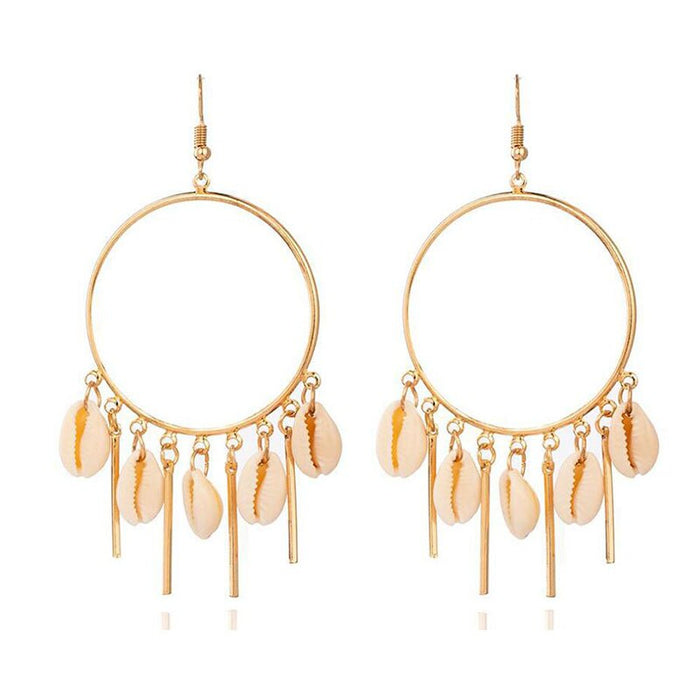 Chandelier Hoop Earrings with Puka Seashells in Gold or Silver