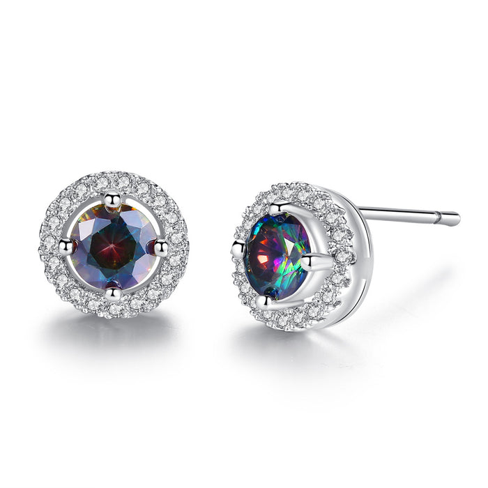 Crystal Halo Topaz Stud Earrings- Topaz Earrings