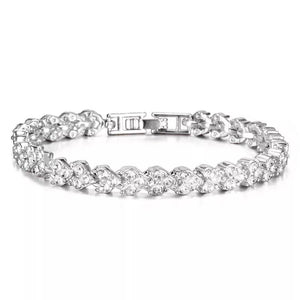 """Crystal Tennis Bracelet-Hollywood Sensation's- Plated White Gold Fancy  Bracelet"""