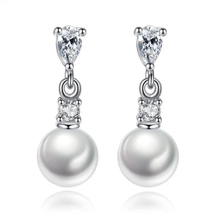 Cubic Zirconia Pearl Dangle Earrings