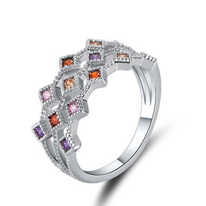 Cubic Zirconia Multicolor Ring, Fashion Jewelry Brands