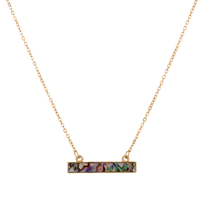Abalone Necklace- Dainty Necklace With Abalone Bar Pendant