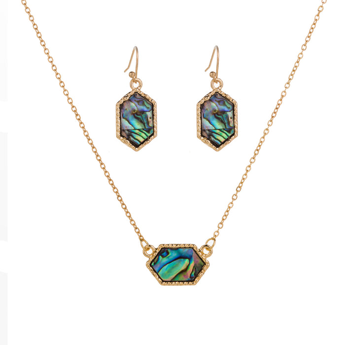 Dainty Pendant Necklace with Hexagon Abalone Pendant and Hexagon Earrings