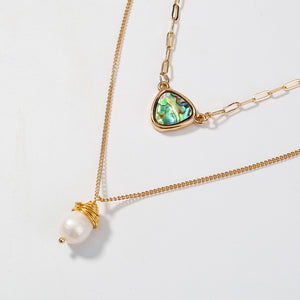 Dainty Two Layer Necklace With Abalone Pendants And Faux Pearl