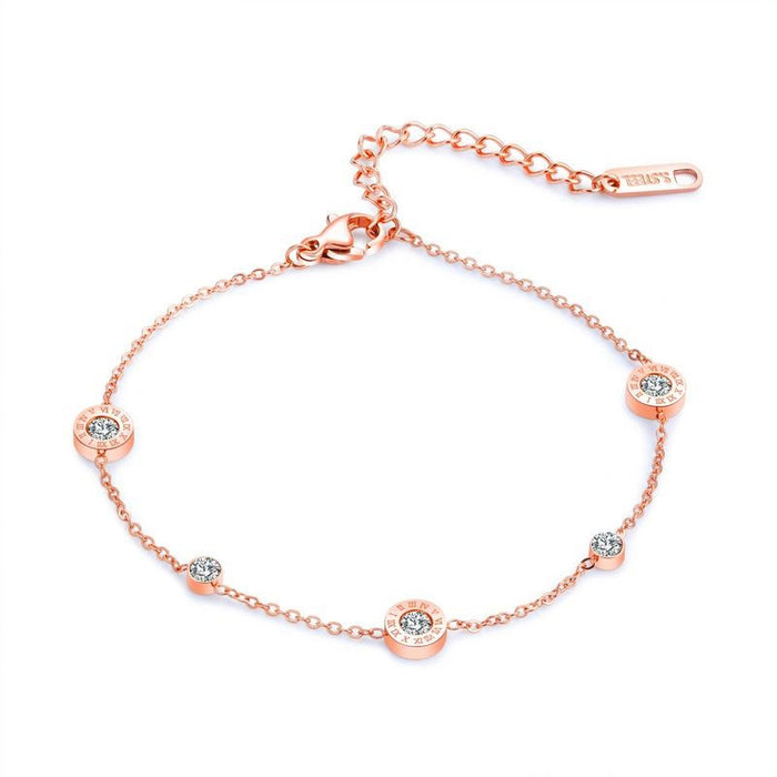 Dainty Rose Gold Chain Bracelet with Cubic Zirconia